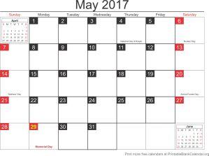 May 2017 calandar
