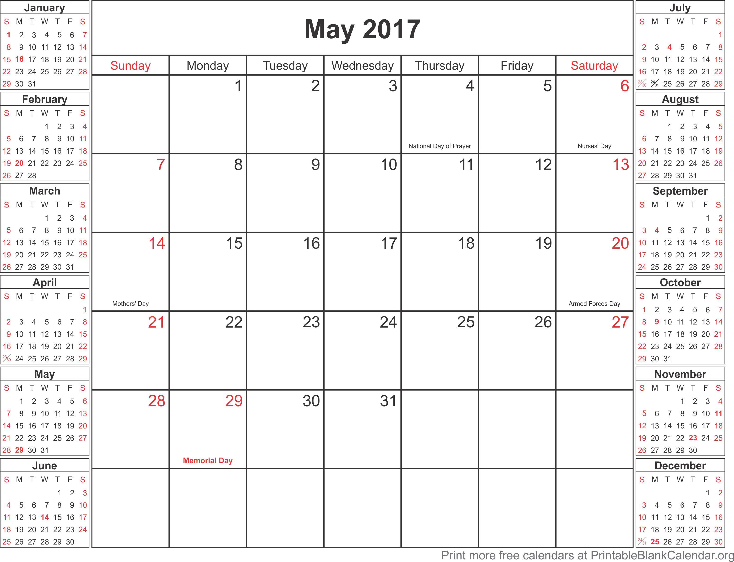 May 2017 free printable calendar Printable Blank Calendarorg – Printable Blank Calendar