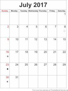 calendar template July 2017