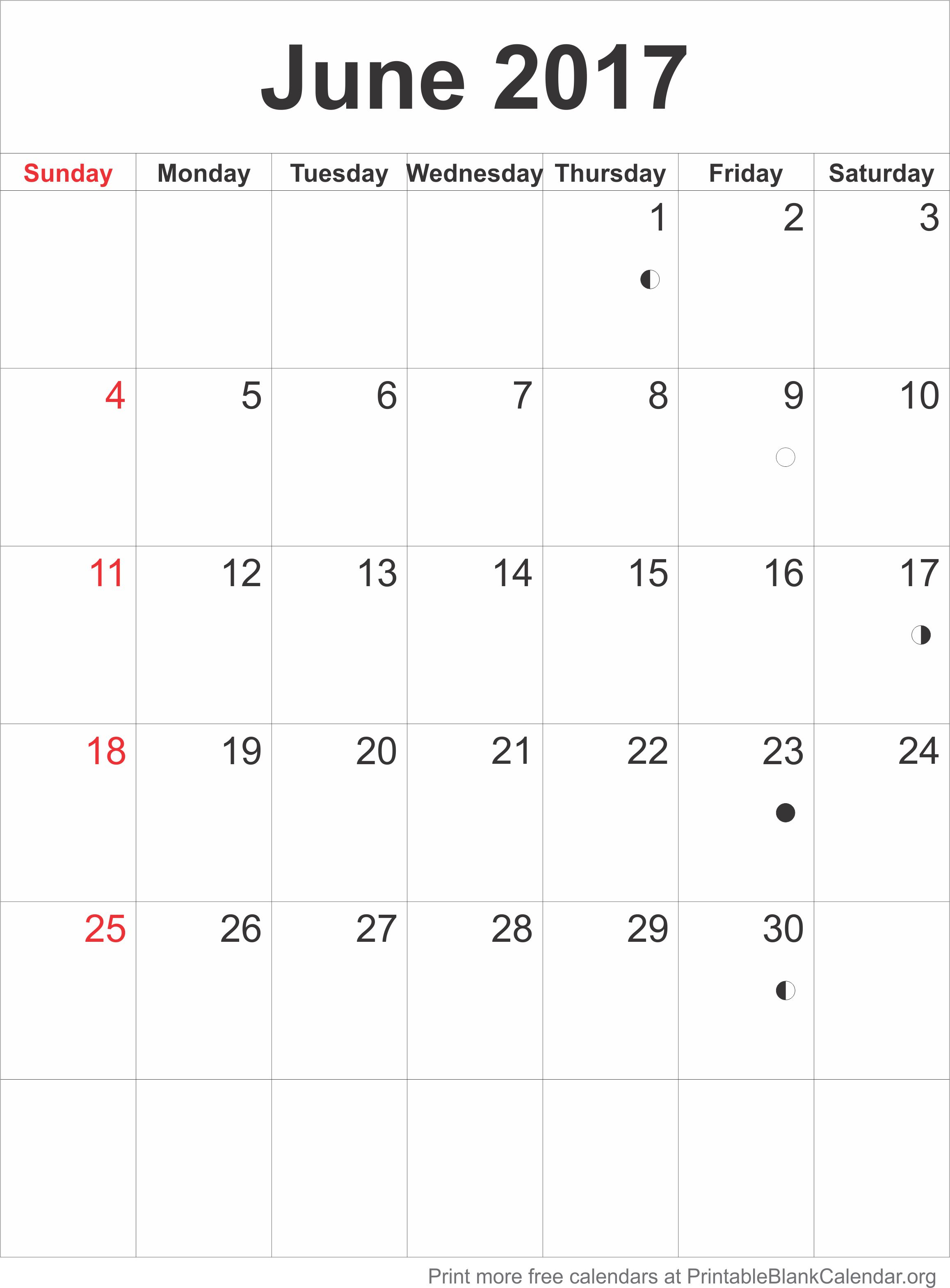 blank june 2017 calendar pdf template
