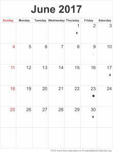 calendar template June 2017