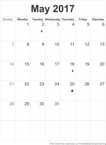 calendar template May 2017