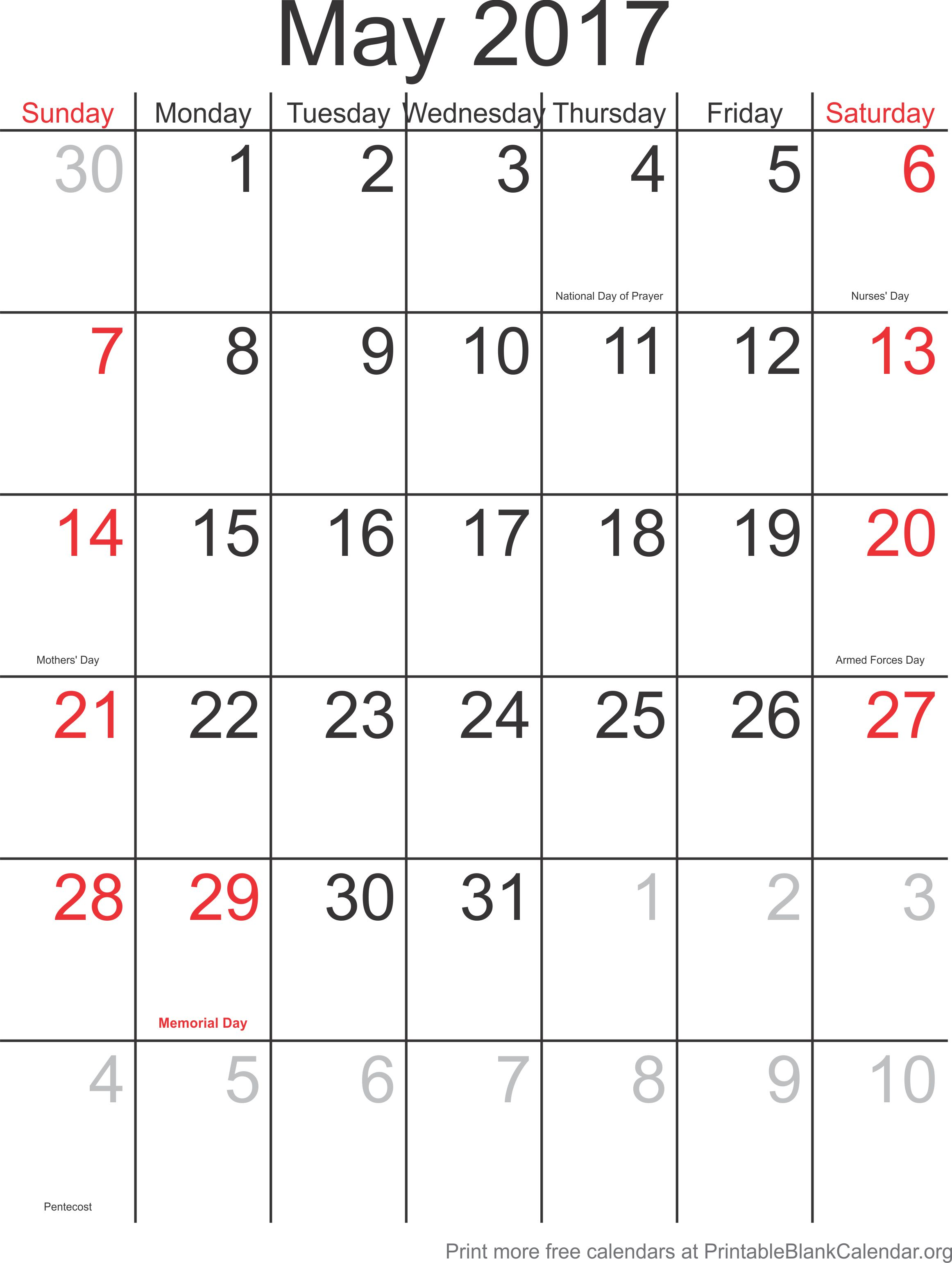 May Calendar Days : Free calendar may printable blank