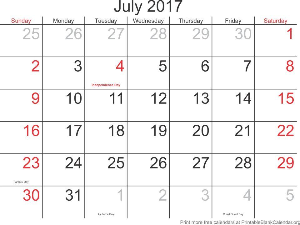 printable calendar July 2017