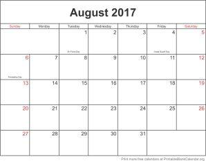 August 2017 calandar
