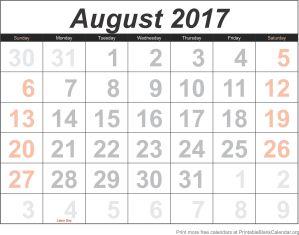 August 2017 calander