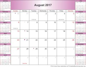 August 2017 free printable calendar