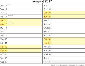 August 2017 monthly calendar