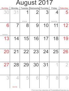 calendar template August 2017