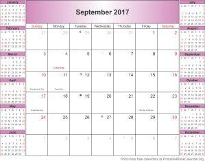 September 2017 blank calendar template