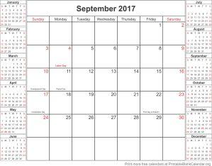 September 2017 calander