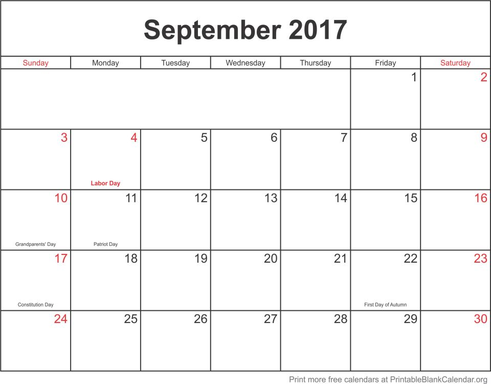 September 2017 monthly calendar