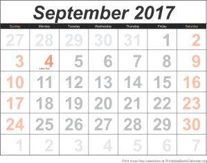 free calendar September 2017