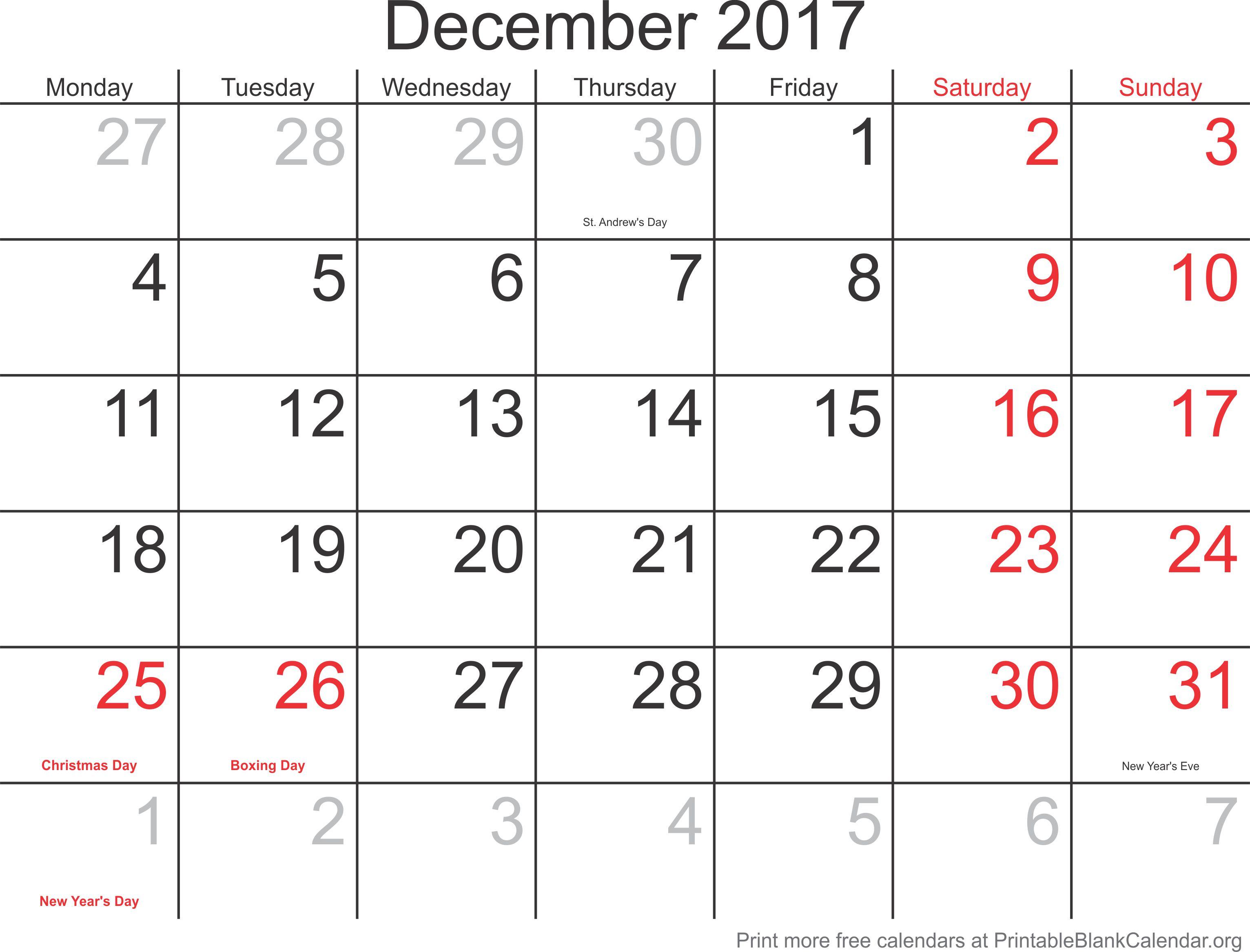 2017 free calendar