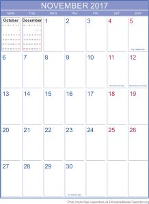 november 2017 printable calendar template