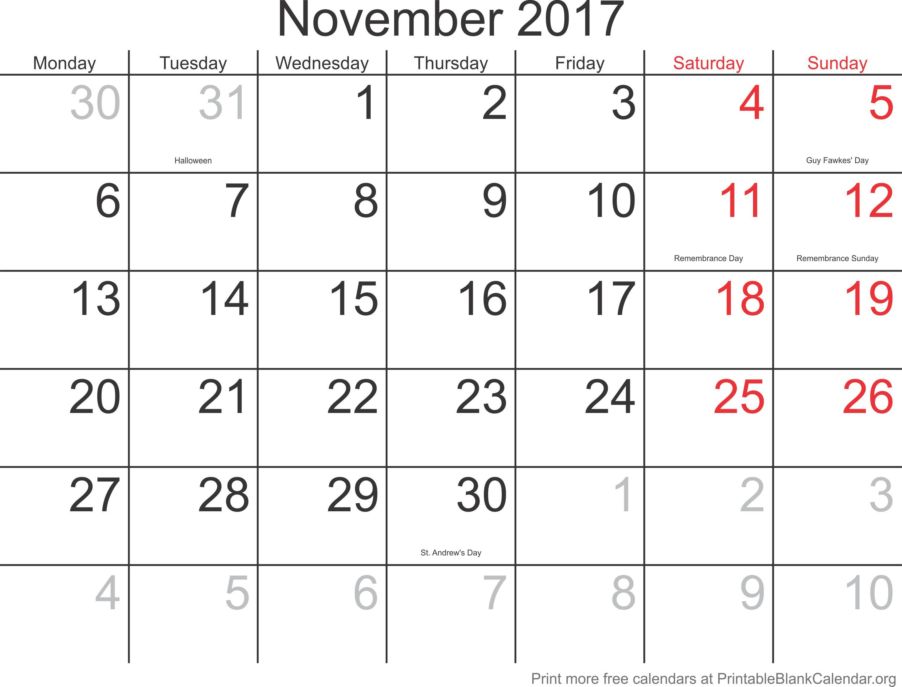printable calendar november 2017