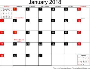 January 2018 blank calendar template