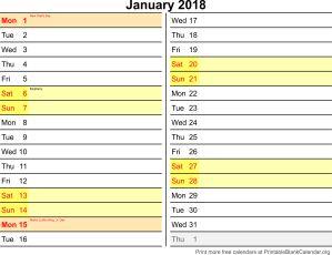 January 2018 calander