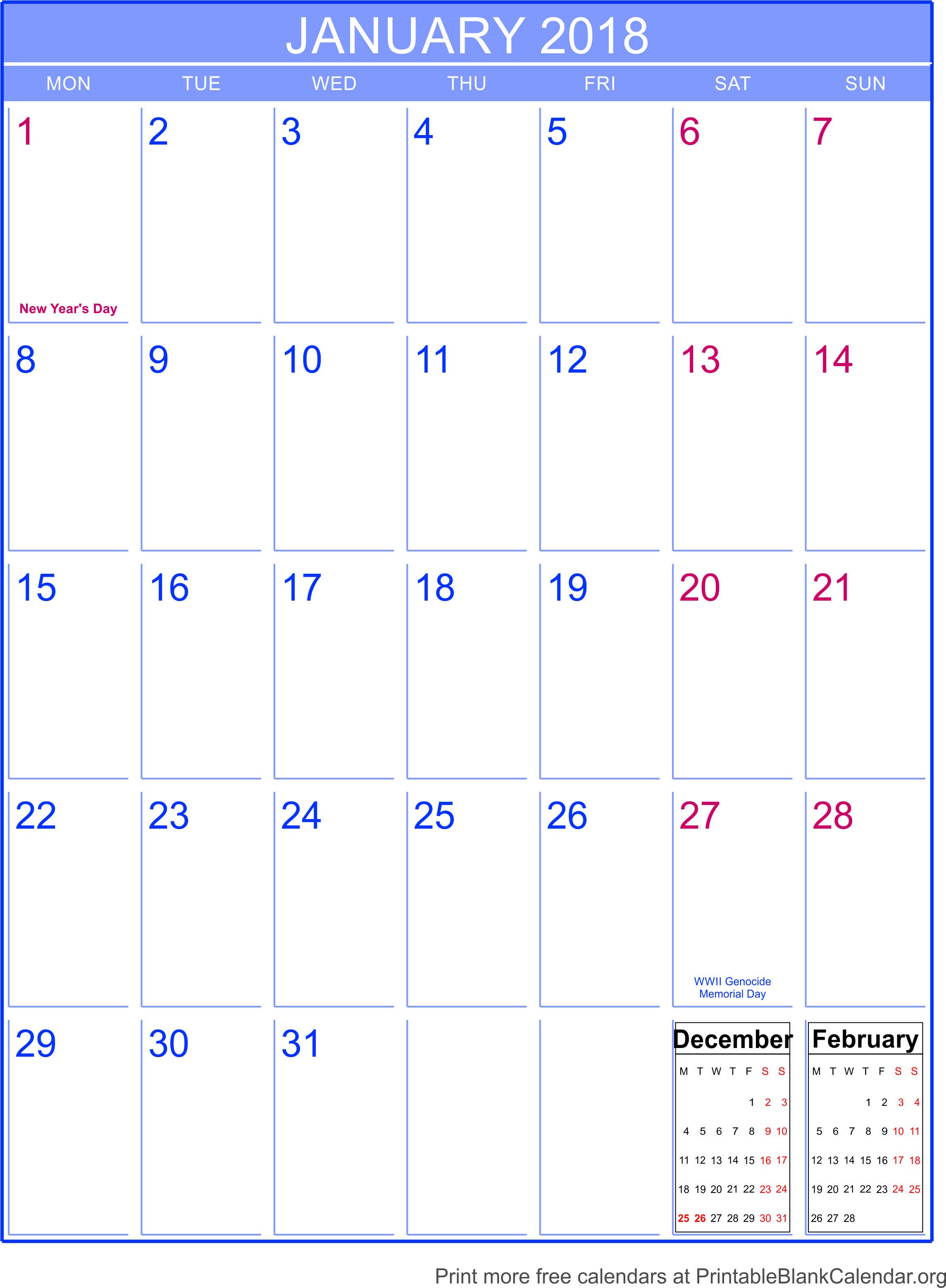 january 2018 printable calendar template