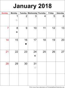 calendar template January 2018
