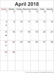 April 2018 blank calendar template