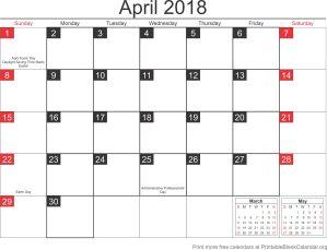 April 2018 calander