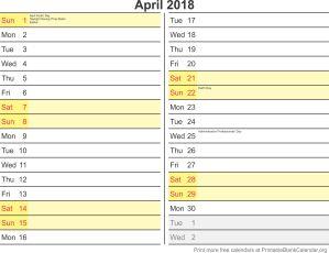 April 2018 free printable calendar
