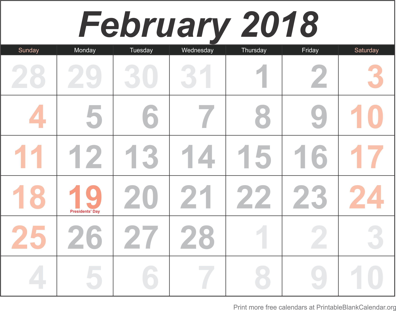 calendar template february 2018