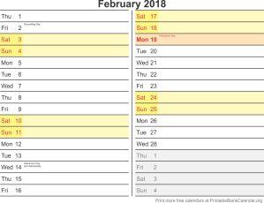 February 2018 calendar with holidays