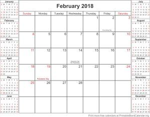 February 2018 free printable calendar