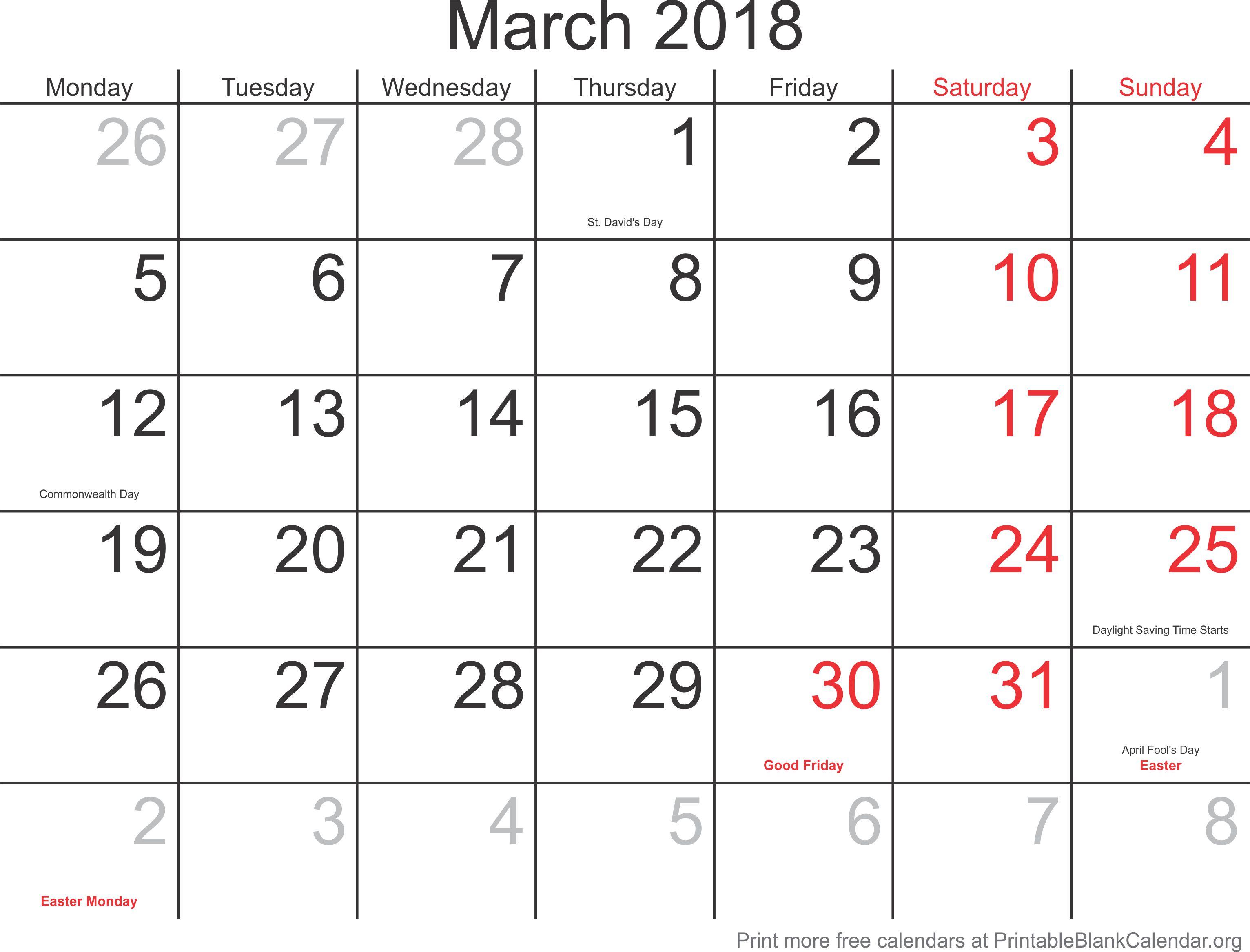 Calendar Monthly March : March monthly calendar printable blank calendar