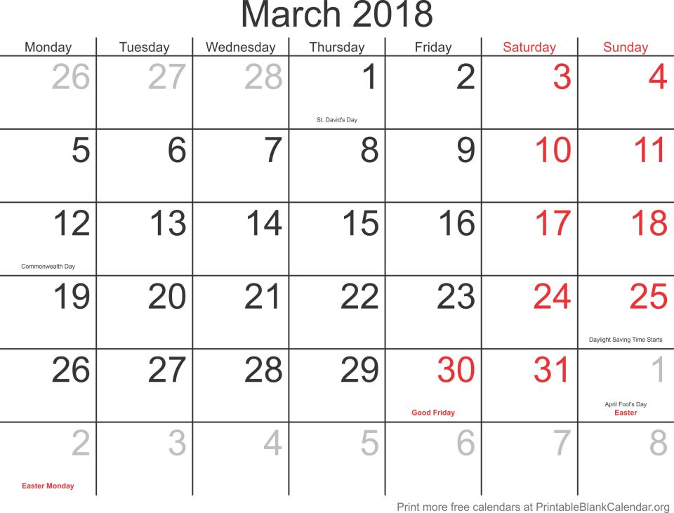 March 2018 monthly calendar