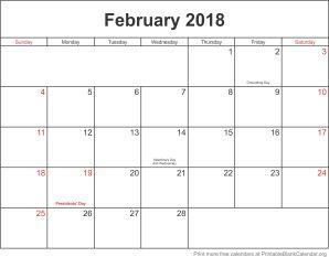 free calendar February 2018