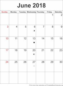 calendar template June 2018