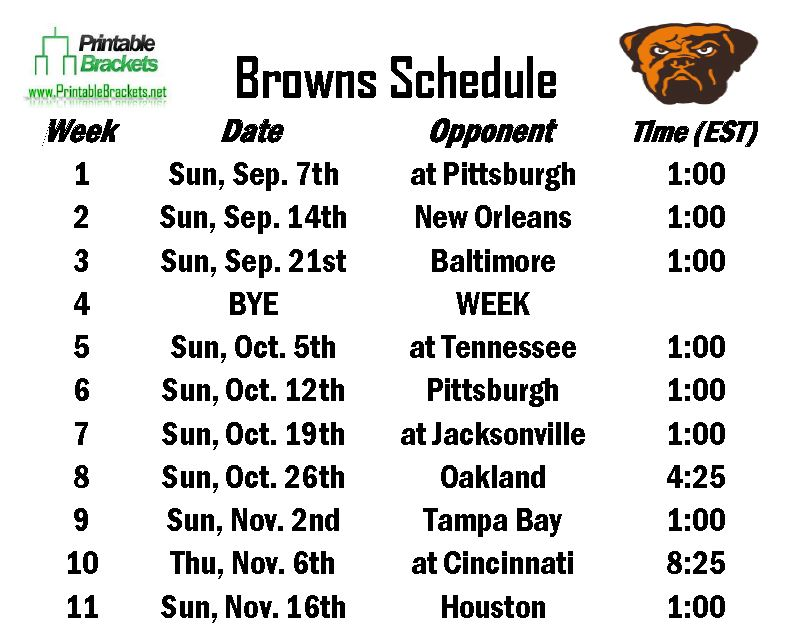 Cleveland browns schedule 2014 printable