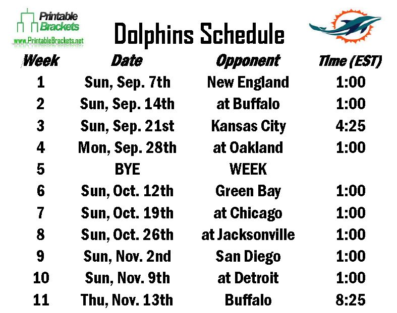 Dolphins Schedule  Miami Dolphins Schedule