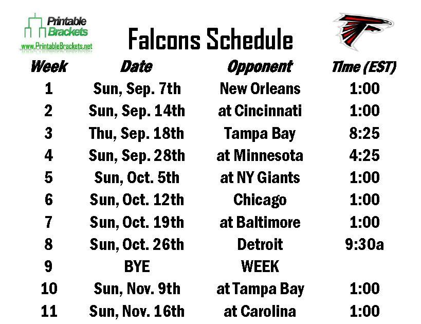 Falcons Schedule  Atlanta Falcons Schedule