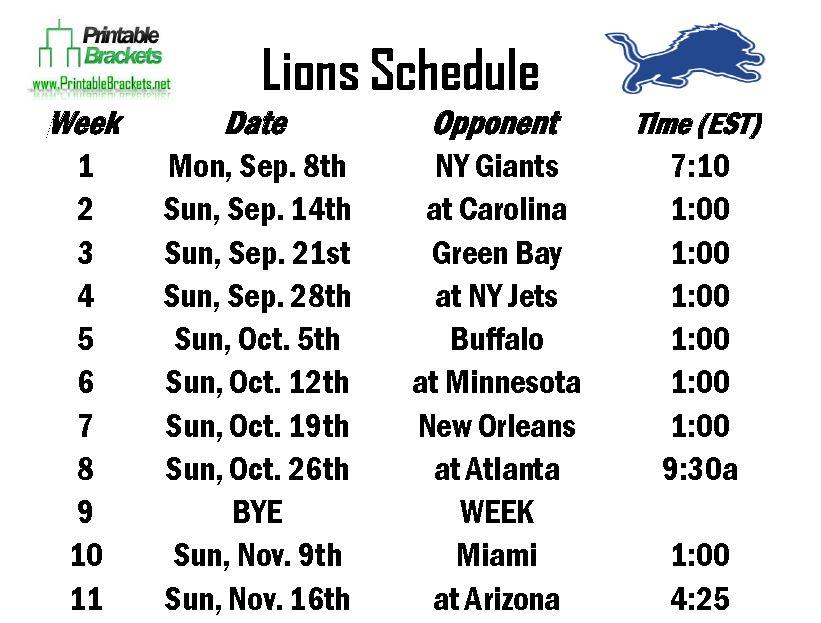 Lions Schedule  Detroit Lions Schedule