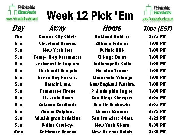 "Search Results for ""Printable Nfl Schedule Week 16"