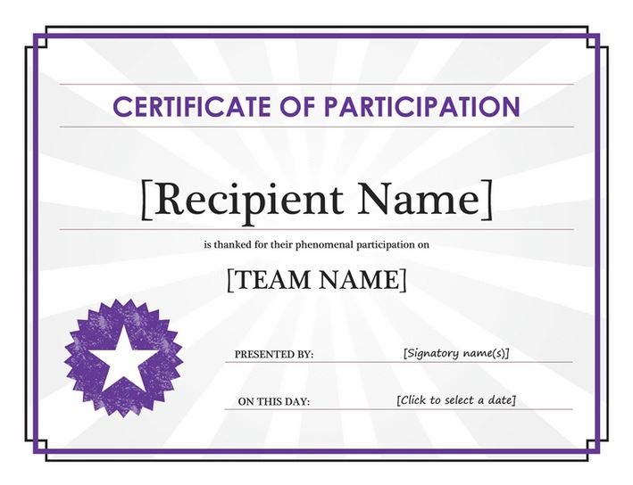 Certificate of Participation  Certificate of