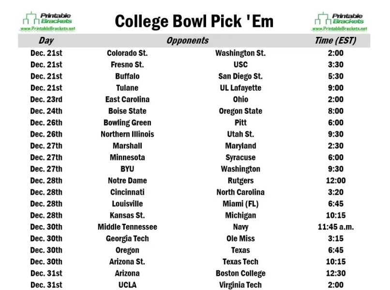2017 Bowl Games Printable >> Printable College Football Pool Sheets | Footballupdate.co