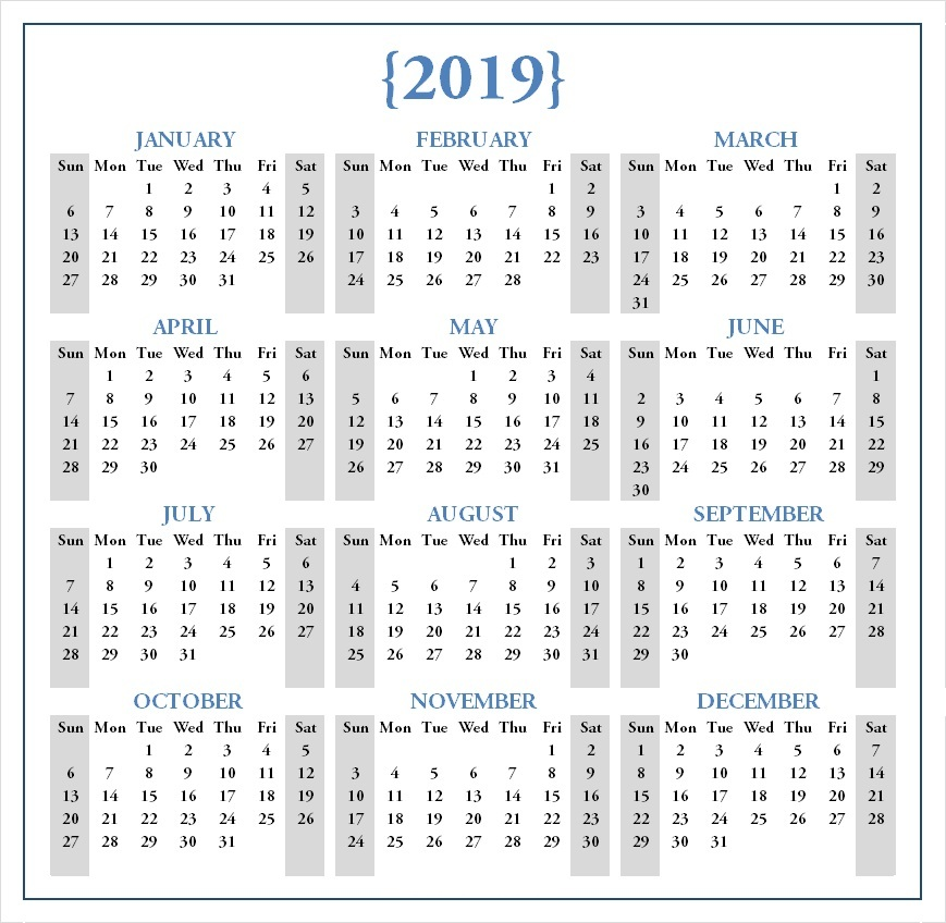 Free 2019 One Page Calendar Printable Download