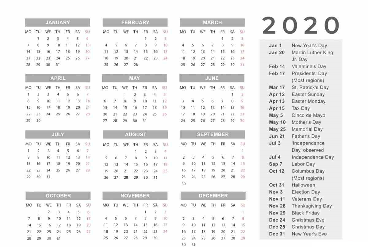 Free 2020 One Page Calendar Printable Download