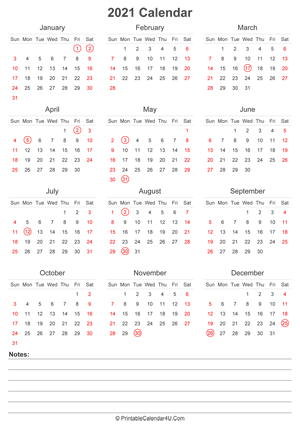 2021 UK Calendar Templates