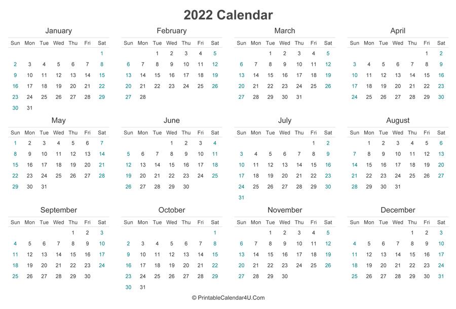 2022 Calendar Printable (Landscape Layout)