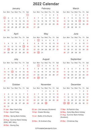 2022 UK Calendar Templates