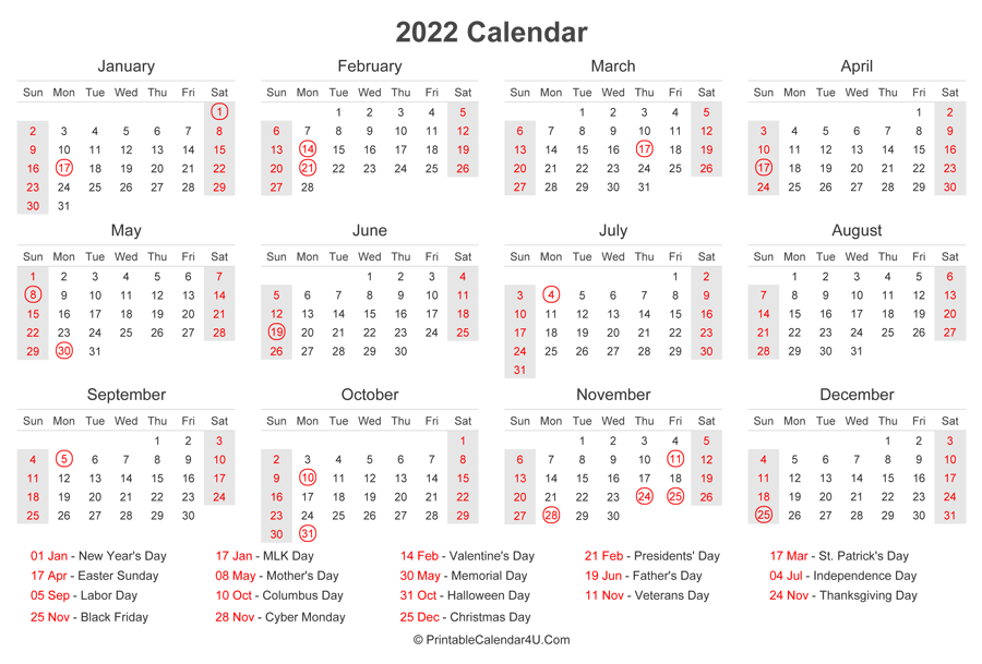 2022 Calendar with US Holidays at bottom (Landscape Layout)