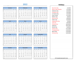 Printable Yearly Calendar 2022