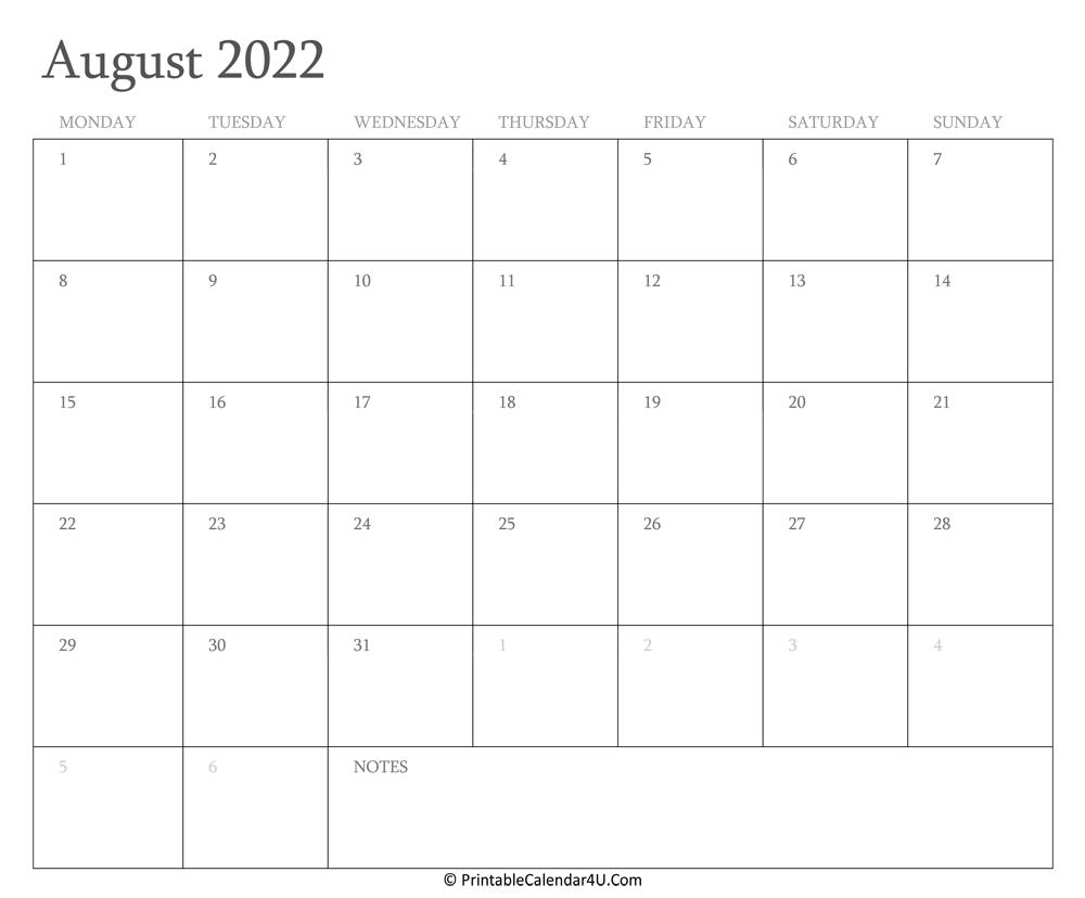 August 2022 Calendar Printable with Holidays