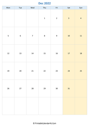 Printable December Calendar 2022 with notes (Portrait)